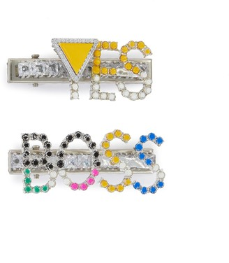 Venna Yes Boss' Crystal Embellished Hair Clips