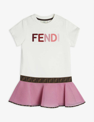Fendi Logo-applique cotton-jersey and neoprene dress 4-14 years