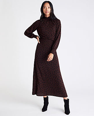 Ann Taylor Cheetah Print Smocked Midi Dress
