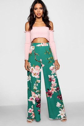 boohoo High Waist Oriental Wide Leg Pants