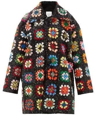 Ashish Sequinned Patchwork Crochet Blanket Coat - Womens - Multi