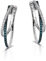 Effy Jewelry Effy Bella Bleu 14K White Gold Blue and White Diamond Earrings, 0.58 TCW