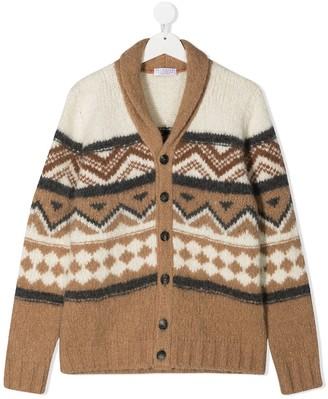 BRUNELLO CUCINELLI KIDS TEEN intarsia knit cardigan