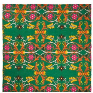 La DoubleJ Set Of Six Floral-print Linen Napkins - Green Multi