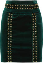 Pierre Balmain Embellished Cotton-blend Velvet Mini Skirt - Emerald