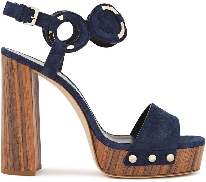 Lanvin Ring-embellished Suede Platform Sandals