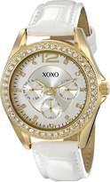 XOXO Women's XO3354 Rhinestones Accent White Strap Watch