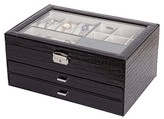 Mele Alana Women's Glass Top Locking Faux Croco Leather Jewelry Box-Black
