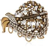 Badgley Mischka Pave Leaf Cuff Bracelet
