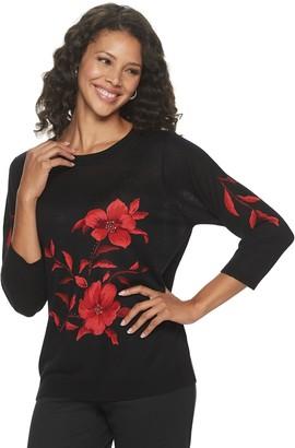 Women's Cathy Daniels Floral Crewneck Sweater