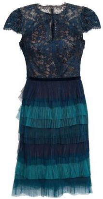 Marchesa Tiered Lace And Plisse-tulle Mini Dress