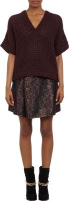3.1 Phillip Lim Short-Sleeve V-neck Open-Stitch Sweater