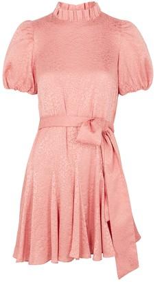 Alice + Olivia Mina Pink Floral-devore Mini Dress
