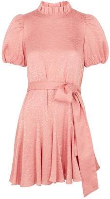 Alice + Olivia Mina pink floral-devore mini dress