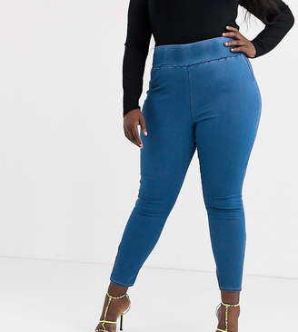 Asos DESIGN Curve Rivington highwaisted pull on jegging in pretty blue wash