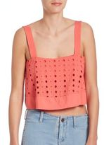 Free People Embroidered Eyelet Cropped Top