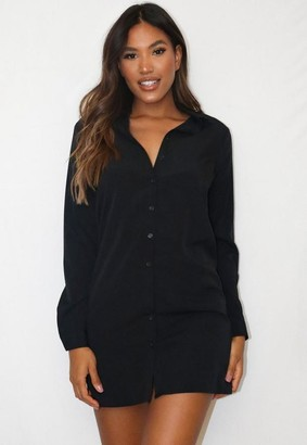 Missguided Black Basic Oversized Shirt Dress
