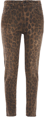 R 13 Leopard-print High-rise Skinny Jeans
