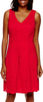 Liz Claiborne Sleeveless Lace V-Neck A-Line Dress
