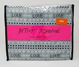 Betsey Johnson 4pc King Sheet Set LOVE Retro with Hearts Gray Pink Black