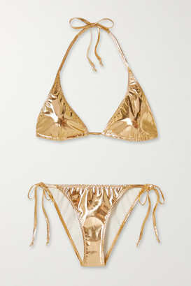 Lisa Marie Fernandez + Net Sustain Pamela Metallic Stretch-pvc Bikini - Gold