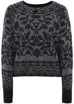 High Wool Plush Intarsia Knit Jumper