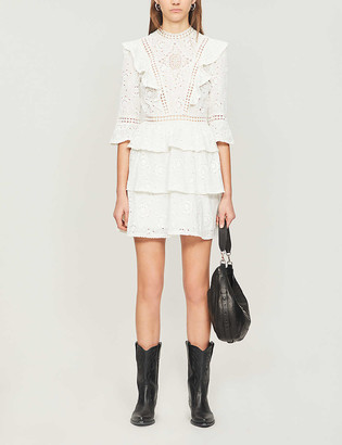 The Kooples Embroidered cotton mini dress