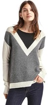 Gap Merino wool blend colorblock V-stripe sweater