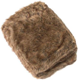 """Best Home Fashion Luxe Faux Fur Throw Blanket, Coyote, 52""""x36"""""""