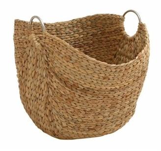 """Decmode - Large, Rectangular Natural Water Hyacinth Basket with Round Metal Loop Handles, Storage Basket, Large Wicker Basket, 21"""" x 19"""""""