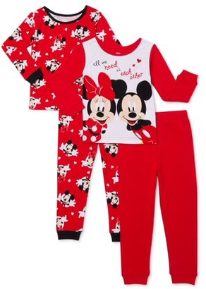 Minnie Mouse Baby & Toddler Girls Long Sleeve Snug Fit Cotton Pajamas, 4pc Set