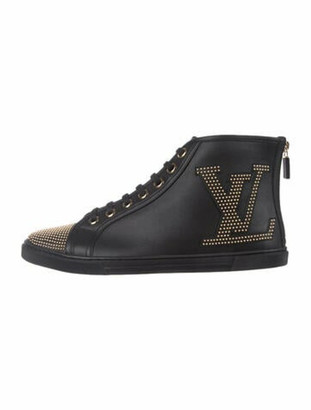 Louis Vuitton Leather Graphic Print Sneakers Black