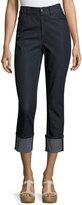 Lafayette 148 New York Dahlia Cropped Cuffed Jeans, Dark Blue
