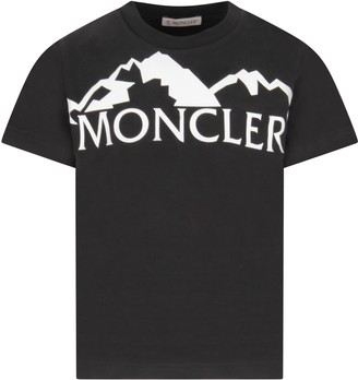 Moncler Black T-shirt For Boy With White Logo