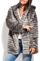 Everest Gray Quilted Hooded Faux-Fur Car Coat