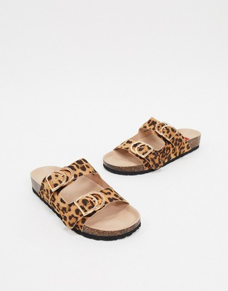London Rebel double buckle footbed sandal in leopard-Multi