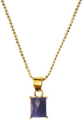 ADORNIA 14K Yellow Gold Vermeil Baguette-Cut Blue Sapphire Pendant Necklace