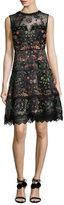 Elie Tahari Maritza Sleeveless Floral-Embroidered Satin Dress, Black Multi