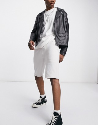 AllSaints Raven ramskull logo sweat shorts in dark grey