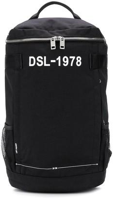 Diesel Pieve logo-print cylindrical backpack