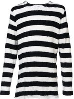 Publish textured striped long sleeve top