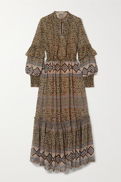 MUNTHE Mitella Ruffled Printed Chiffon Maxi Dress - Camel