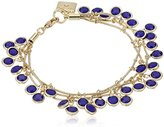 "Anne Klein Beacon"" Gold-Tone and Blue Three Row Shaky Bracelet, 7.5"""