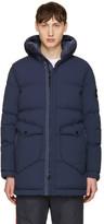 Stone Island Blue Down Hooded Puffer Jacket
