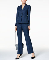 Le Suit Two-Button Navy Pinstripe Pantsuit