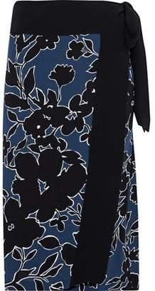 Michael Kors Floral-print Silk-crepe Wrap Skirt