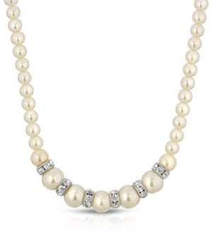 2028 Silver-Tone White Graduated Imitation Pearl and Crystal Necklace