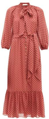 Zimmermann Espionage Pussy Bow Polka Dot Print Crepe Dress - Womens - Pink Print