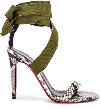 Dundas Printed Python Ribbon Heels in Khaki | FWRD