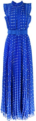 Self-Portrait Long Polka Dot Print Dress